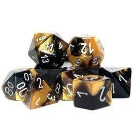 Chessex Gemini Black Gold Silver 7 die set
