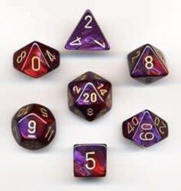 Chessex Gemini Purple Red Gold 7 die set