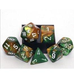 Chessex Gemini Gold Green White 7 die set