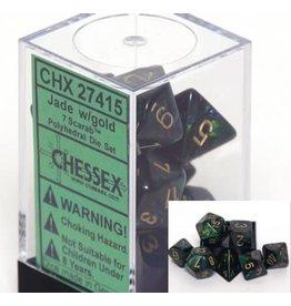 Chessex Scarab Jade gold 7 die set