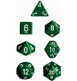 Chessex Opaque: Poly Set Green/White (7)