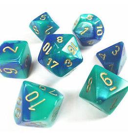 Chessex Gemini Blue Teal w/gold 7 die set