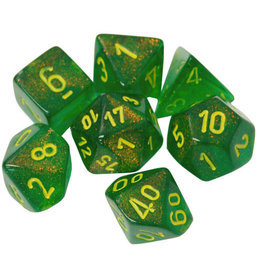 Chessex Borealis Maple Green/Yellow 7 die set Menagerie 10