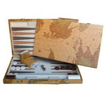 "Wood Expressions Backgammon set 18"" Map Design"