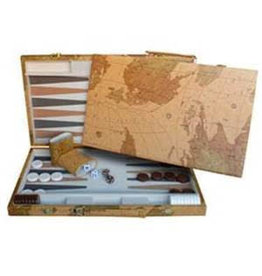 "Wood Expressions Backgammon set 18"" Map Design"