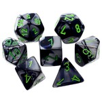 Chessex Gemini Black Grey Green 7 die set