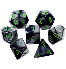 Chessex Gemini Black Grey Green 7 die set