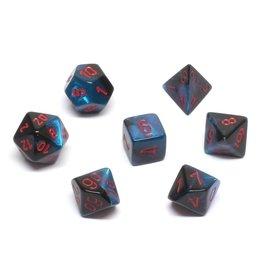 Chessex Gemini Black Starlight w/red 7 die set