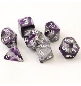 Chessex Gemini Purple Steel White 7 die set
