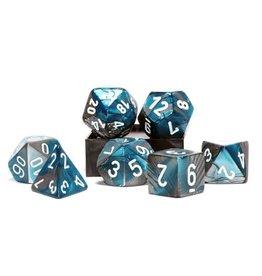 Chessex Gemini Steel Teal White 7 die set