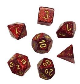 Chessex Glitter: Ruby/Gold 7 set
