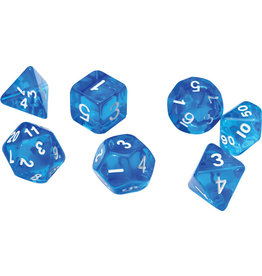 RPG Dice Set (7): Translucent Blue Resin