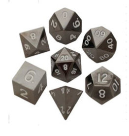 Metallic Dice Games Metal Dice: Sterling Grey 16mm Poly set