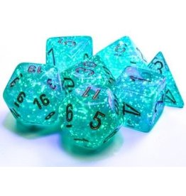 Chessex Borealis: Polyhedral Teal/gold Luminary 7-Die Set