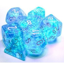 Chessex Borealis: Polyhedral Sky Blue/white Luminary 7-Die Set