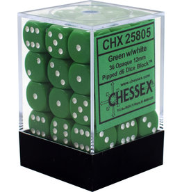 Chessex Opaque: 12mm D6 Green/White (36)