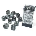 Chessex Borealis: 16mm d6 Light Smoke/silver Luminary Dice (12)