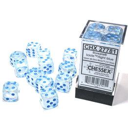 Chessex Borealis: 16mm d6 Icicle/light blue Luminary Dice (12)