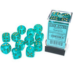 Chessex Borealis: 16mm d6 Teal/gold Luminary Dice (12)