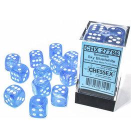 Chessex Borealis: 16mm d6 Sky Blue/white Luminary Dice (12)