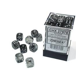 Chessex Borealis: 12mm d6 Light Smoke/silver Luminary Dice (36)