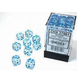 Chessex Borealis: 12mm d6 Icicle/light blue Luminary Dice (36)