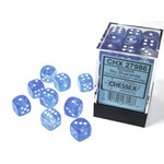 Chessex Borealis: 12mm d6 Sky Blue/white Luminary Dice (36)
