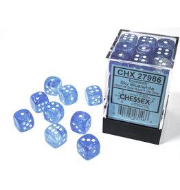 Chessex Borealis: 12mm d6 Sky Blue/white Luminary Dice (36)