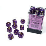 Chessex Borealis: 12mm d6 Royal Purple/gold Luminary Dice (36)