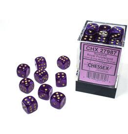 Chessex Borealis: 12mm d6 Royal Purple/gold Luminary Dice (36)