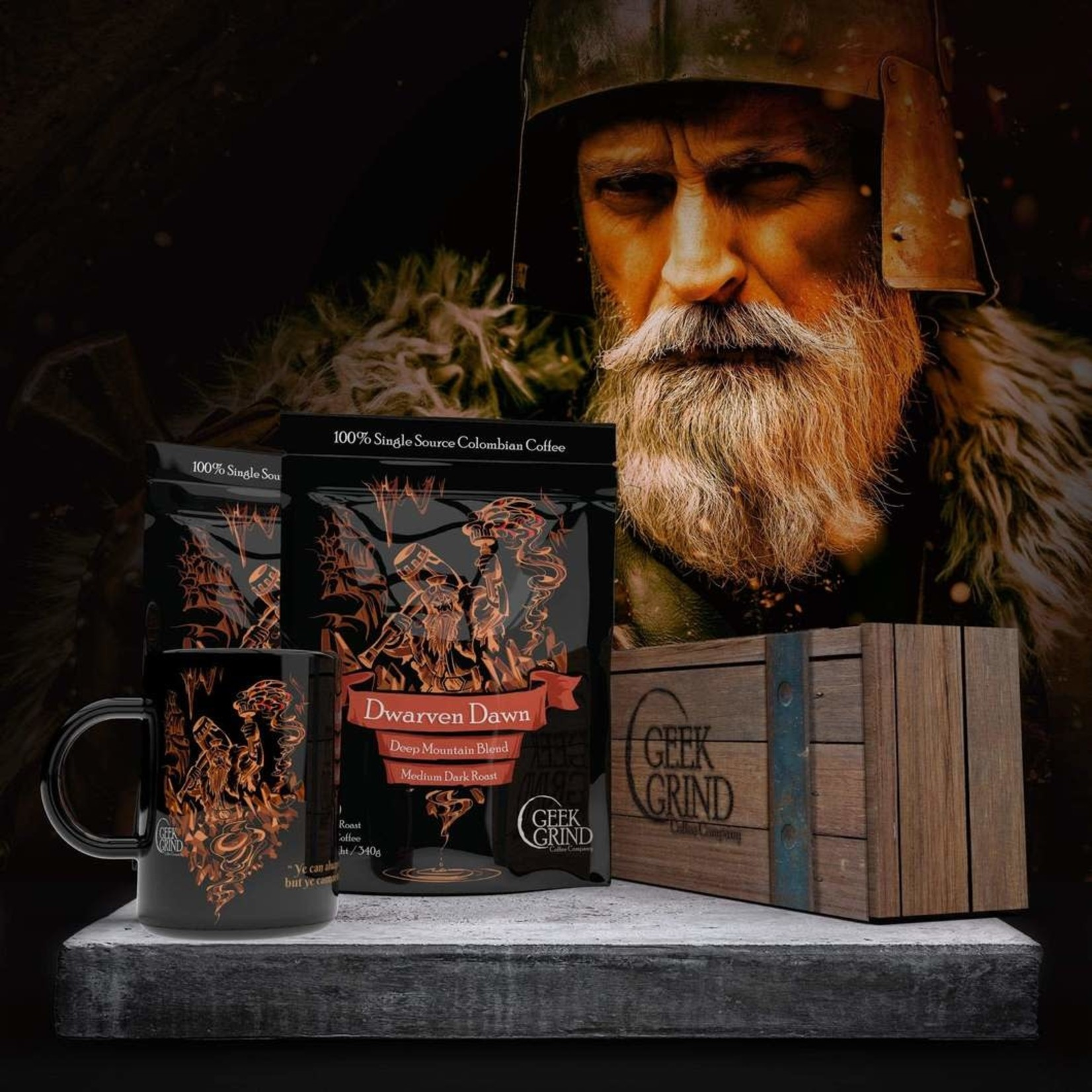 Geek Grind Dwarven Dawn & Cup Coffee Gift Crate