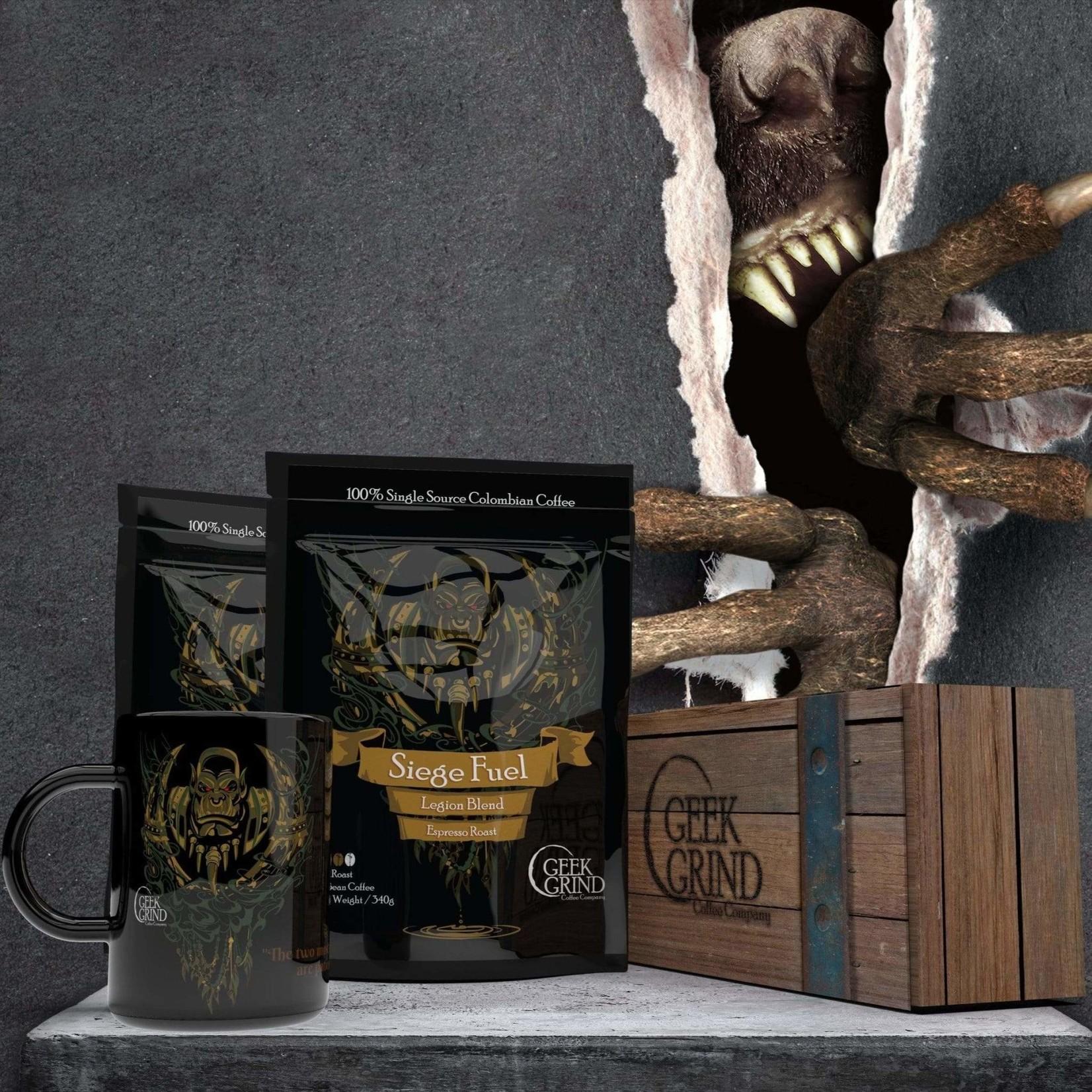 Geek Grind Siege Fuel & Cup Coffee Gift Crate