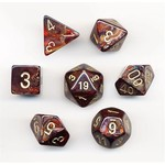 Chessex Scarab Poly Blue/Blood/Gold (7)