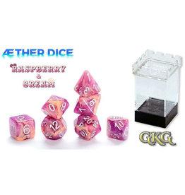 Gate Keeper Games Raspberry & Cream Aether 7-Die Polyhedral Set
