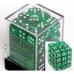 Chessex Translucent 12mm d6 Green/white Dice (36)