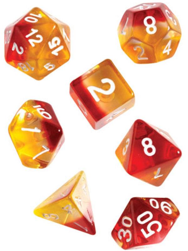 Sirius Dice RPG Dice Set (7): Yellow, Red Translucent