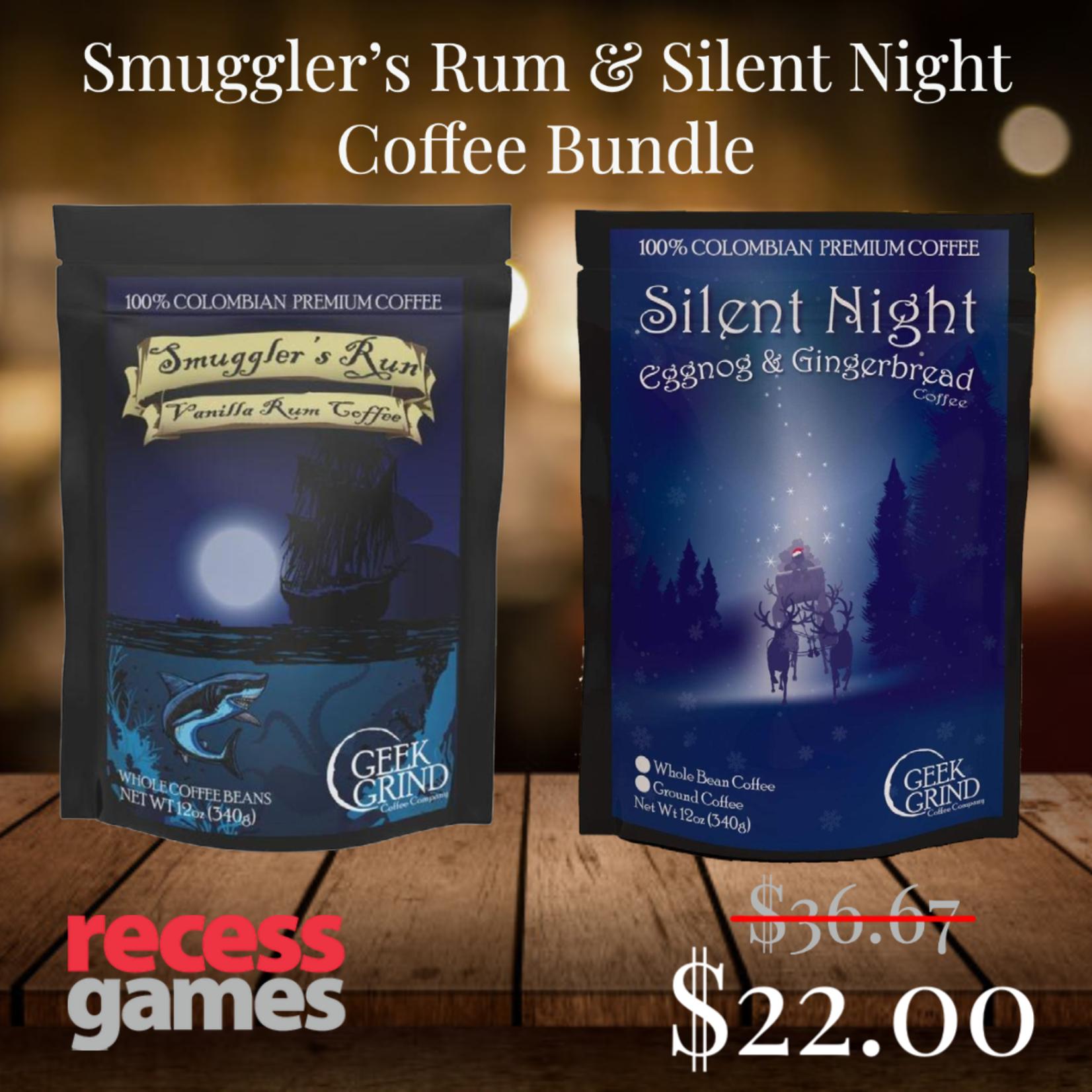 Geek Grind Bundle Deal Smuggler's Rum & Silent Night flavored coffee