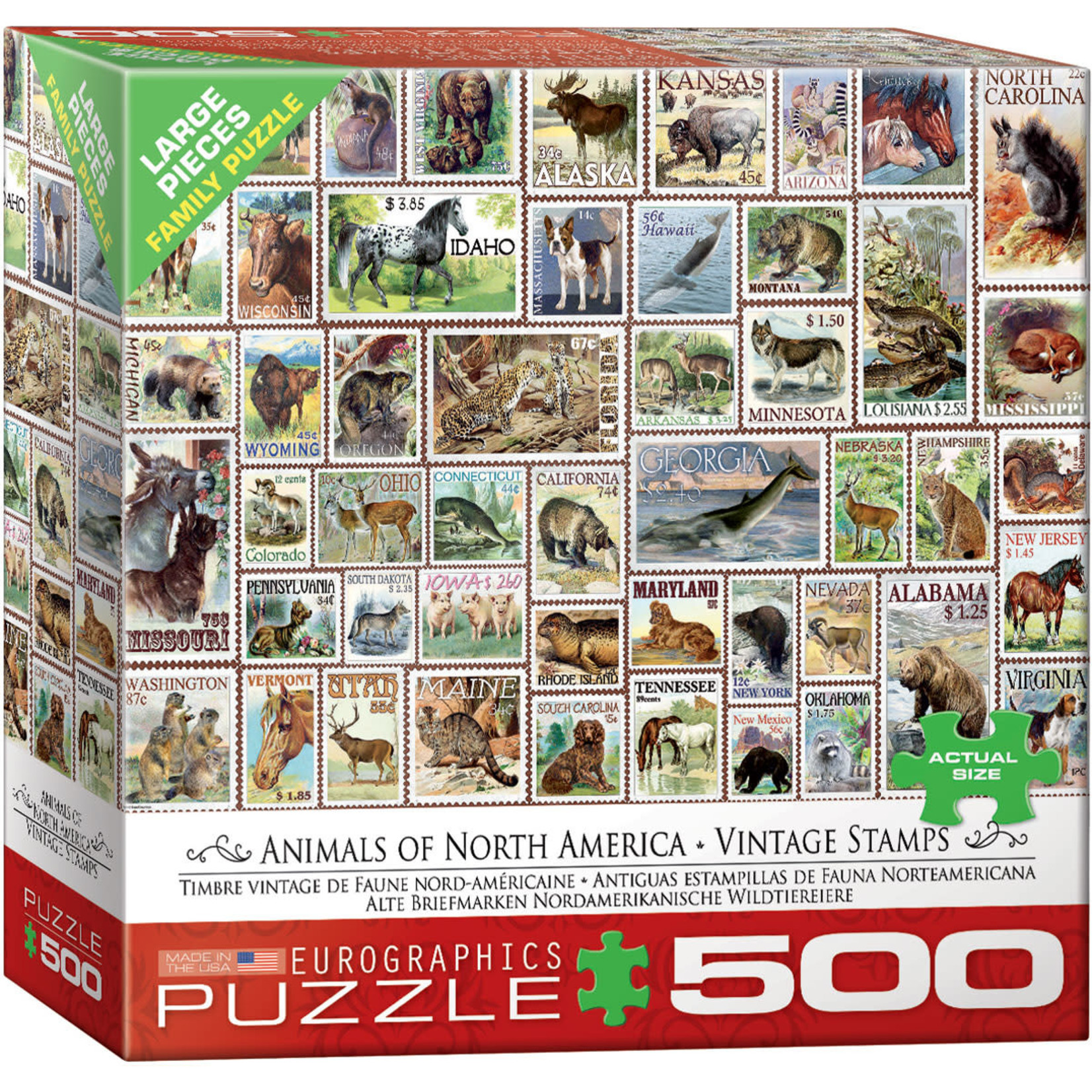 EuroGraphics Animals of North America Vintage Stamps 500pc