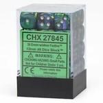 Chessex Festive 12mm D6 Green/Silver (36)