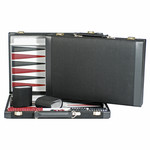 """Wood Expressions Backgammon 18"""" Black Suede"""