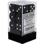 Chessex Opaque Black/White 16mm d6 (12)