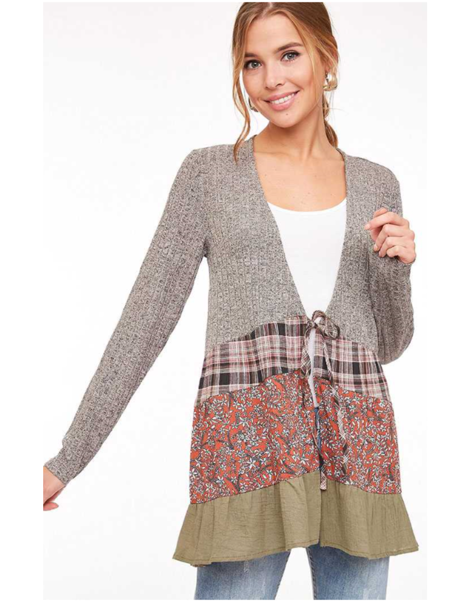 Callie - Front tie cardigan with patchwork ruffle hem (multiple colours)