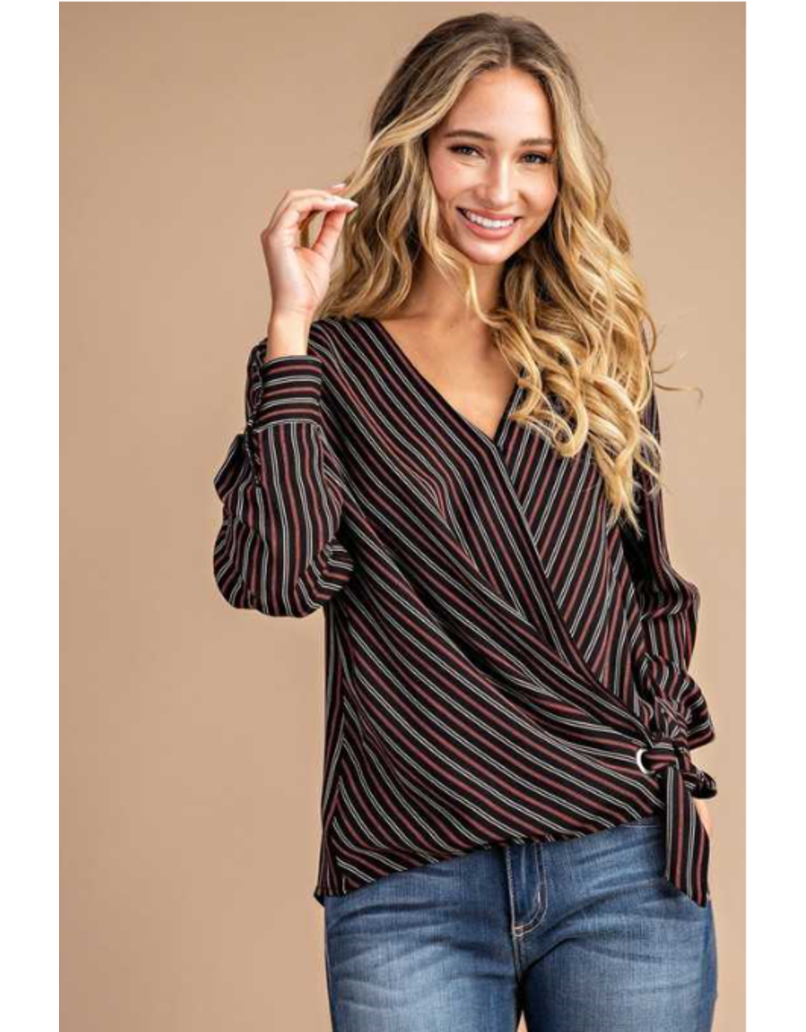 Eden - Vertical stripe wrap blouse