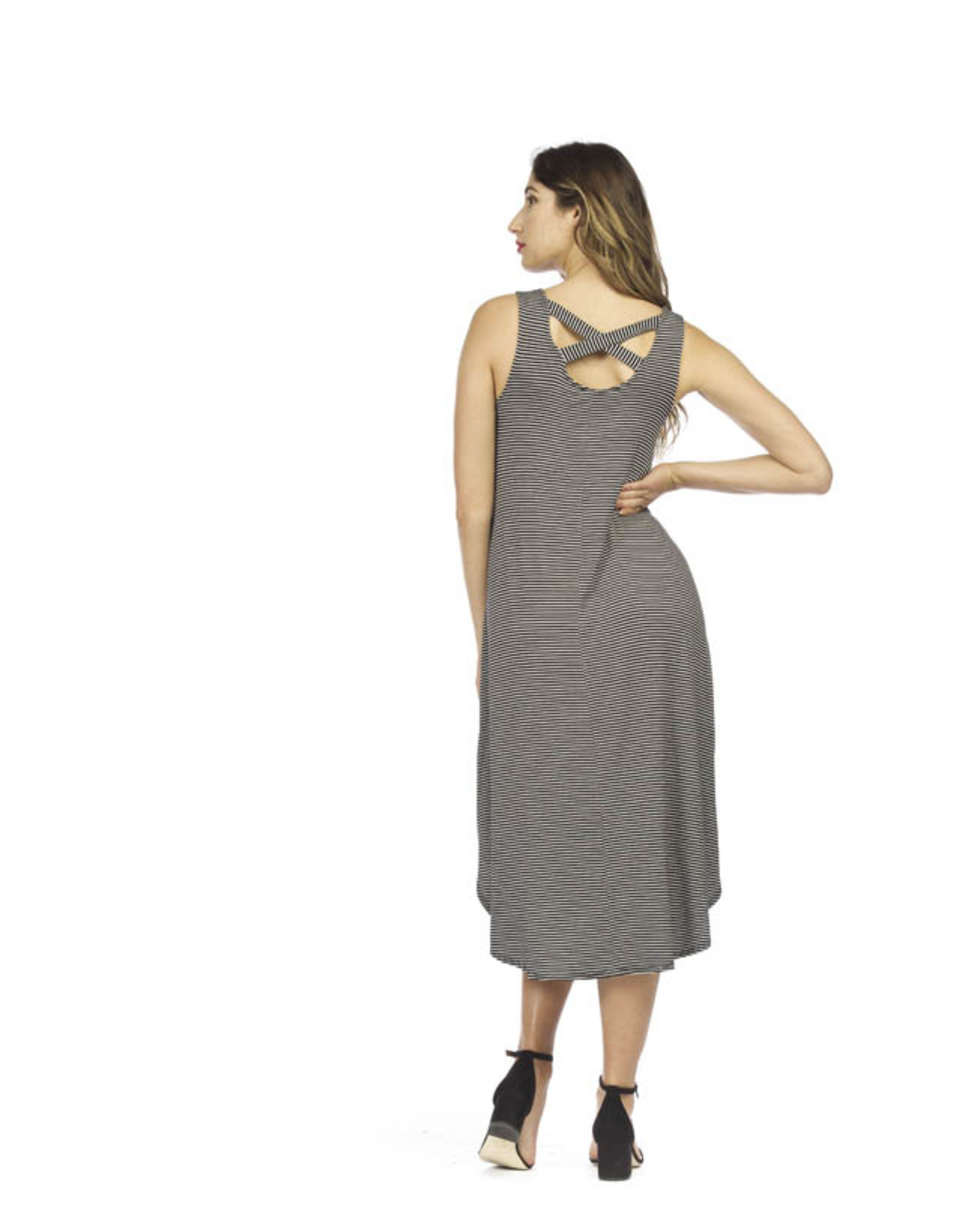 Papillon Striped midi dress with pockets and crossed back