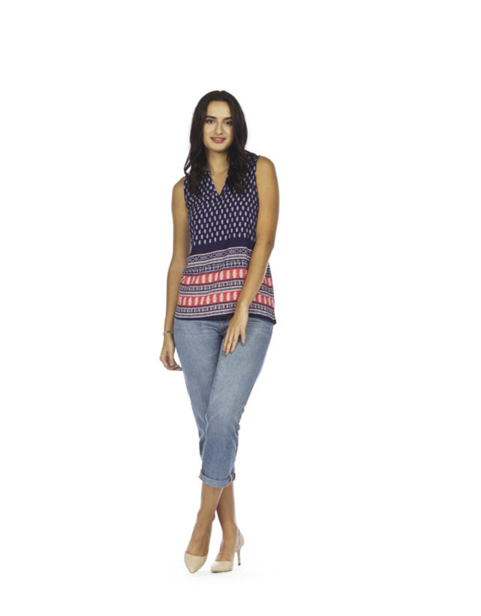 Papillon Border print sleeveless top