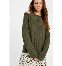 Midori - Textured cold shoulder pullover sweater (2 colours)