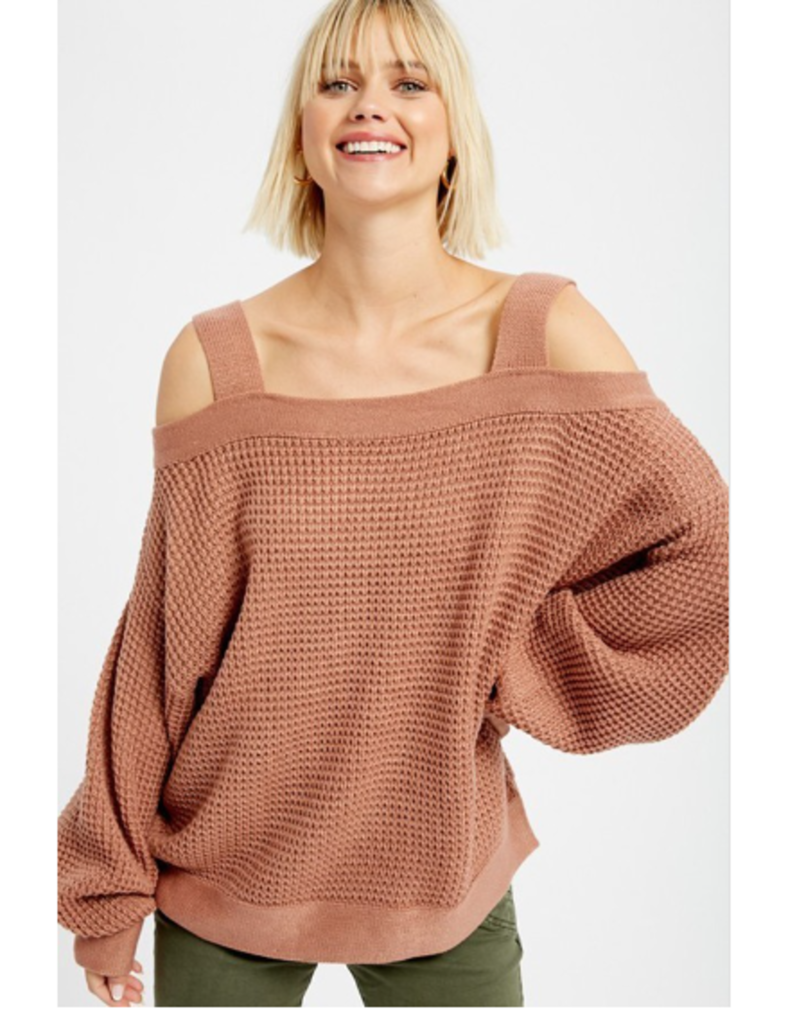 Jaid - Waffle knit off the shoulder pullover sweater