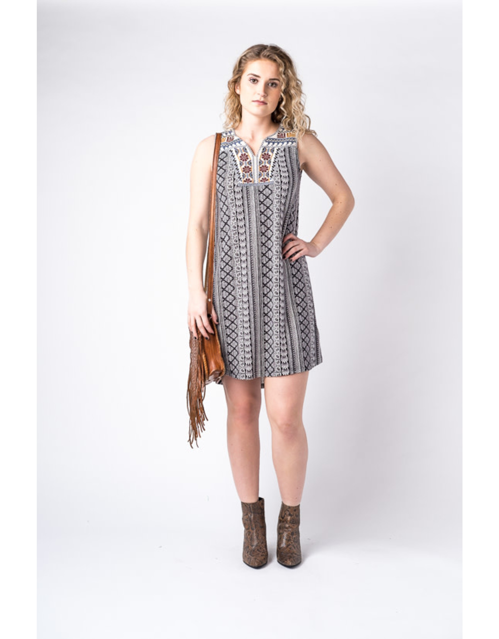 Papillon Geo stripe dress with embroidered yoke