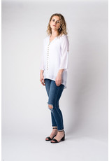 Papillon Button front blouse with tab sleeves (white)