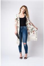 Papillon Floral print cotton lace duster